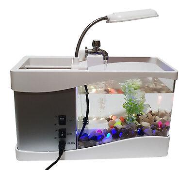 1,5L USB Aquarium Aquarien Kies Deko Pflanze Büro Schreibtisch LED Uhr Organizer