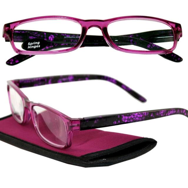 +1.50 ICU Eyewear Splash of Purple Reading Glasses Spring Hinge Case