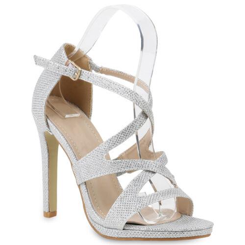 Damen Abiball Hochzeit Riemchensandaletten Stiletto Glitzer Party 818216 Schuhe