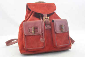 a04dd8dce310 Image is loading GUCCI-Suede-Leather-Bamboo-Backpack-Red-Auth-452
