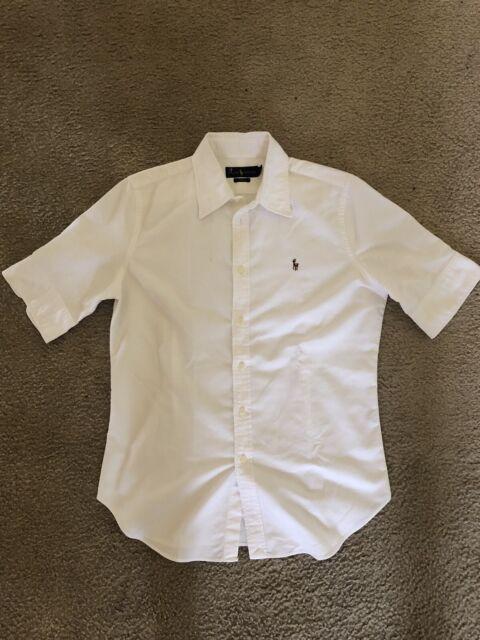Polo Ralph Lauren Men's Short Sleeve Button Down Shirt White Large