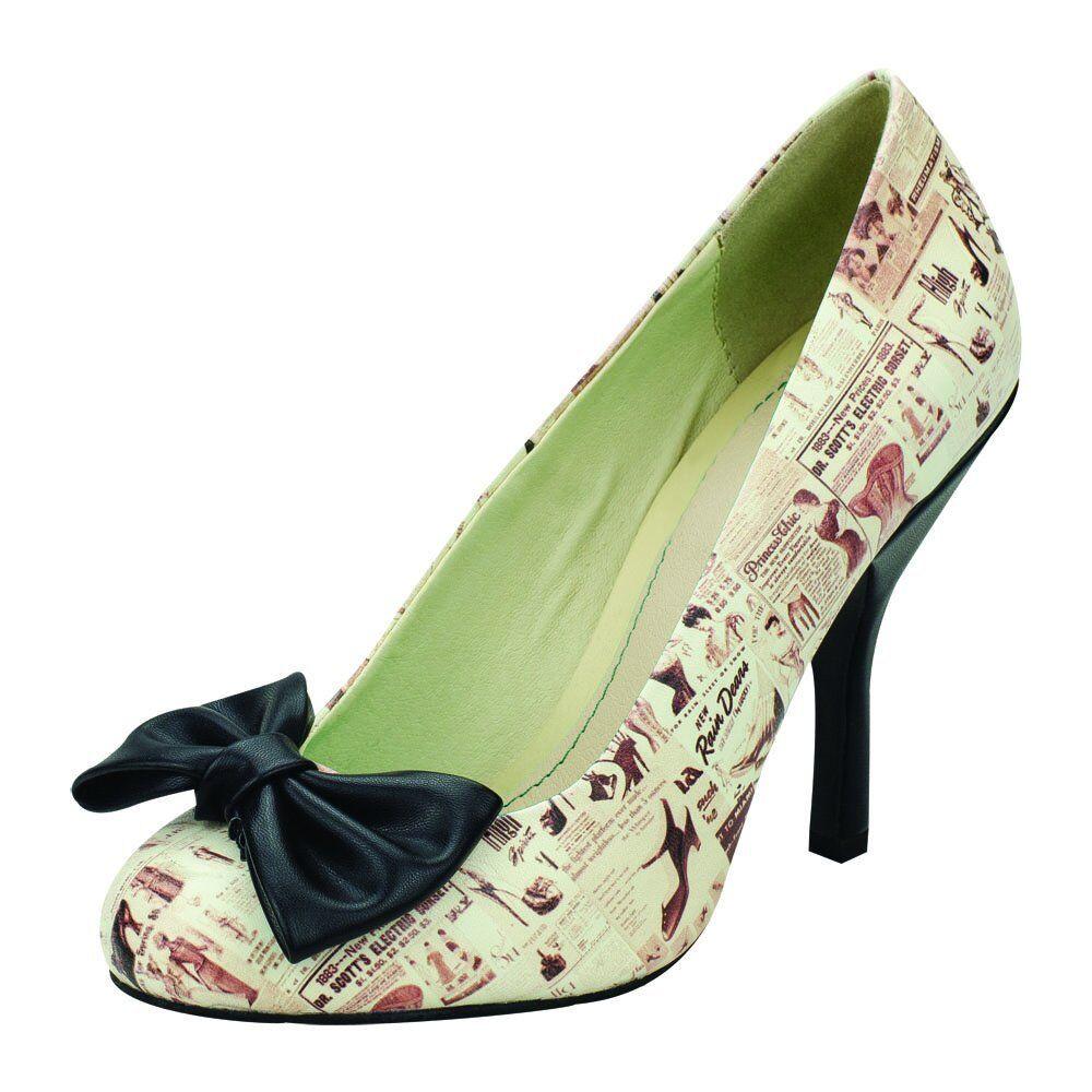 T.U.K. Retro Lingerie Lingerie Lingerie Print Bombshell Vintage Bow Stiletto High Heel Schuhes 19f57e