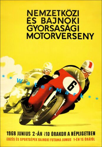 Motorcycle Speed Races 1968 International Championship Vintage Poster Print Art