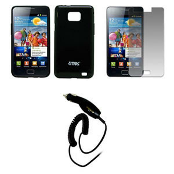 for Samsung Galaxy S II I9100 Black TPU Case+SP+Car Charger