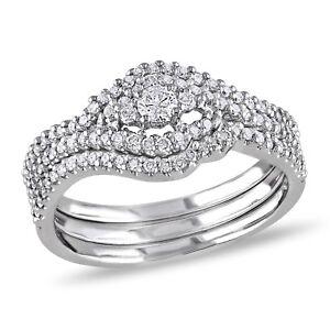 Amour 1/2 CT TW Diamond Multi-Row Bridal Set in 10k White Gold