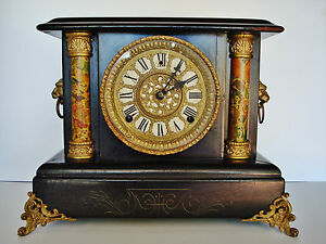 1890-039-s-Wm-Gilbert-8-Day-MANTLE-CLOCK-Running-ACCURATELY-Exc-Orig-Finish