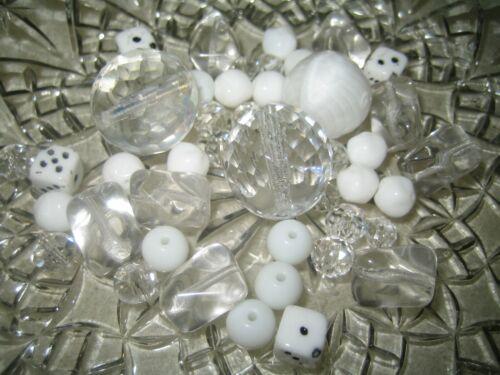 Glasperlen Mix 50 g Böhmische Glasperlen weiß kristall