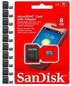 SANDISK-8GB-MicroSD-SDHC-SD-TF-MEMORY-CARD-8-GB-WHOLESALE-LOT-OF-10
