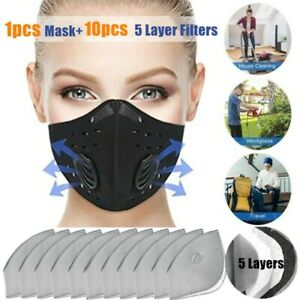 Outdoor-Air-Purifying-Sport-Face-Mask-amp-10x-Respirator-Activative-Carbon-Filters