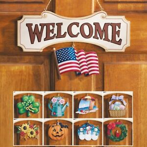 10 Piece Interchangeable Easter St Pats Day WELCOME Sign Home Door Decoration