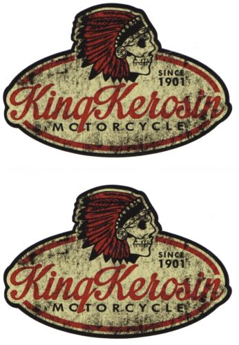 King Kerosene 2x Motorcycle Sticker Oldschool Retro Hot Rod V8 Racing