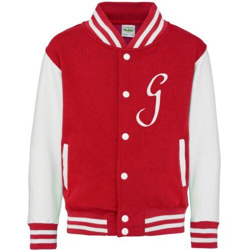 Personalised Initials Kids Varsity Jacket 3-13 Years Customised Printed Baseball