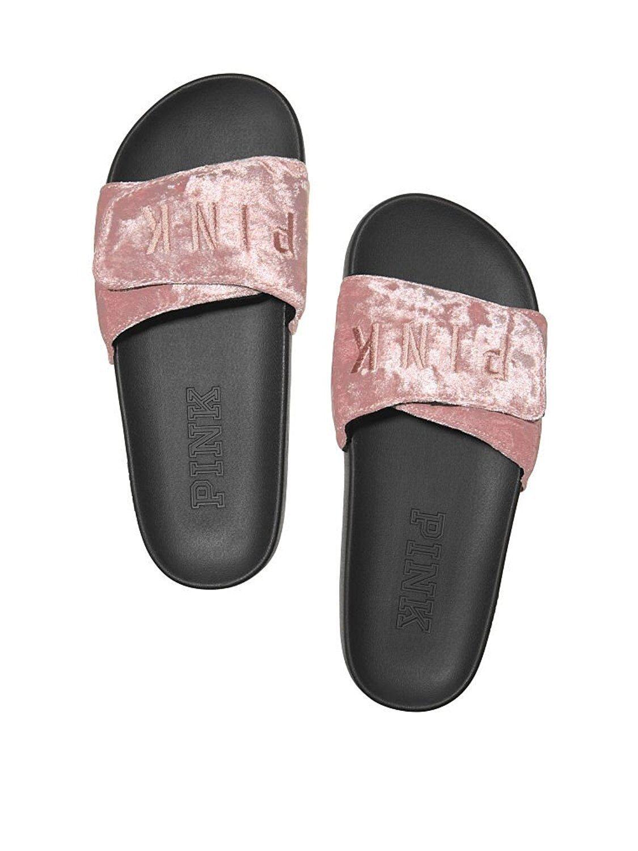 Victoria's Secret rosado Cruz Sobre Terciopelo Diapositivas Sandalias grandes Smokey Smokey Smokey rosado Nuevo con etiquetas  precios al por mayor