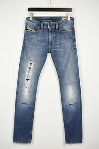 DIESEL THANAZ WASH 0088D Women W28/L34 Ripped Embroidered Regular Jeans 41796_GS