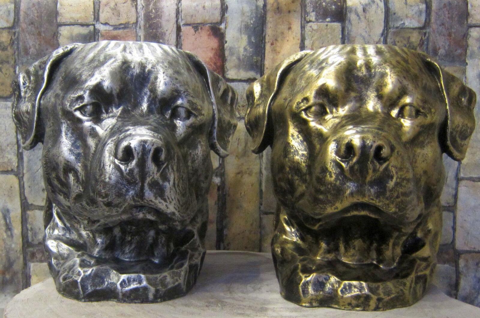 Büste Labrador Rottweiler H  33cm Kopf Figur Hund Deko Hundekopf Gold silber