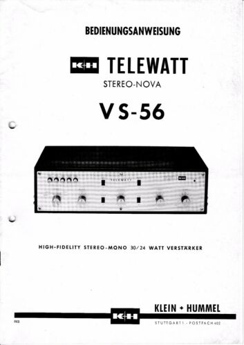 for Small Bumblebee Telewatts VS-56 Operating Instructions with Schematic