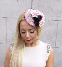 Light Pink Black Rose Net Flower Fascinator Races Headpiece Hair Clip Hat 2473