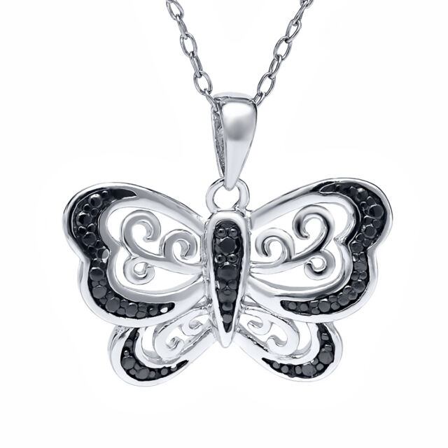 """925 Sterling Silver Black Diamond Accent Butterfly Pendant with 18"""" Chain"""