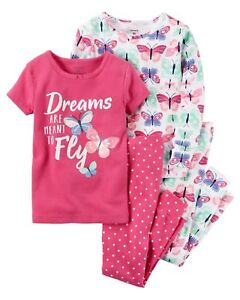 bebc811f238e NEW Baby GIRL Carter s Butterfly Tops Pants Pajama 4 piece Set PJS ...