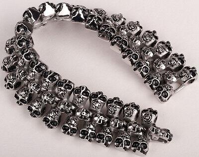 """Men stainless steel skull cuff bracelet heavy biker jewelry gift 130 silver 8.5"""""""