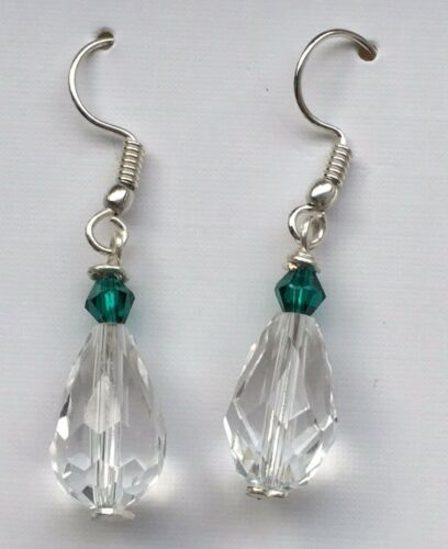 Clear Glass Crystal Drop /& Coloured Bead Earrings on Silver Plated Wires.