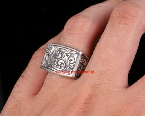 Turkish Handmade Special Pencil Work 925 Sterling Silver No Stone Men Ring 7 Usa