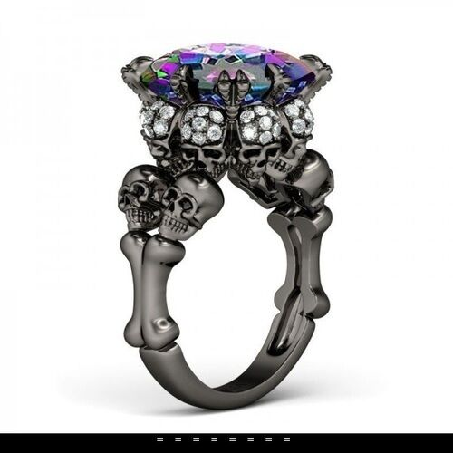 Mystic Topaz JoYau Exclusive 4ct Skull Princess cut Ring size 7