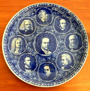 ROWLAND-MARSELLUS-FLOW-BLUE-PLATE-FAMOUS-COMPOSERS-OLD