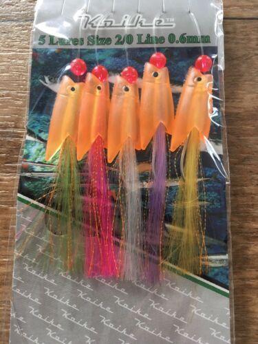 5 x Orange hokkai Hawkeye Hokeye white Feather Mackerel cod ling pollack rig