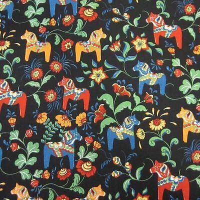 Stoff Meterware Baumwolle Schweden weiß ocker blau Pferde Dala  skandinavisch