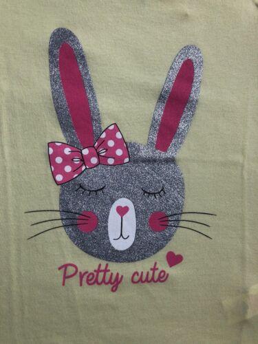 Primark Lemon Yellow /& Silver Glitter Rabbit Short Sleeve T-Shirt Age 3-4 5-6 BN