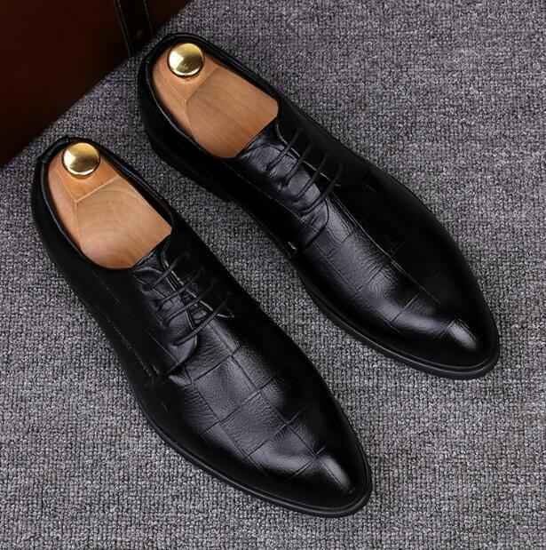 New Mens Formal Fashion Lace Up Pointy Toe Faux Leather Groom Business shoes