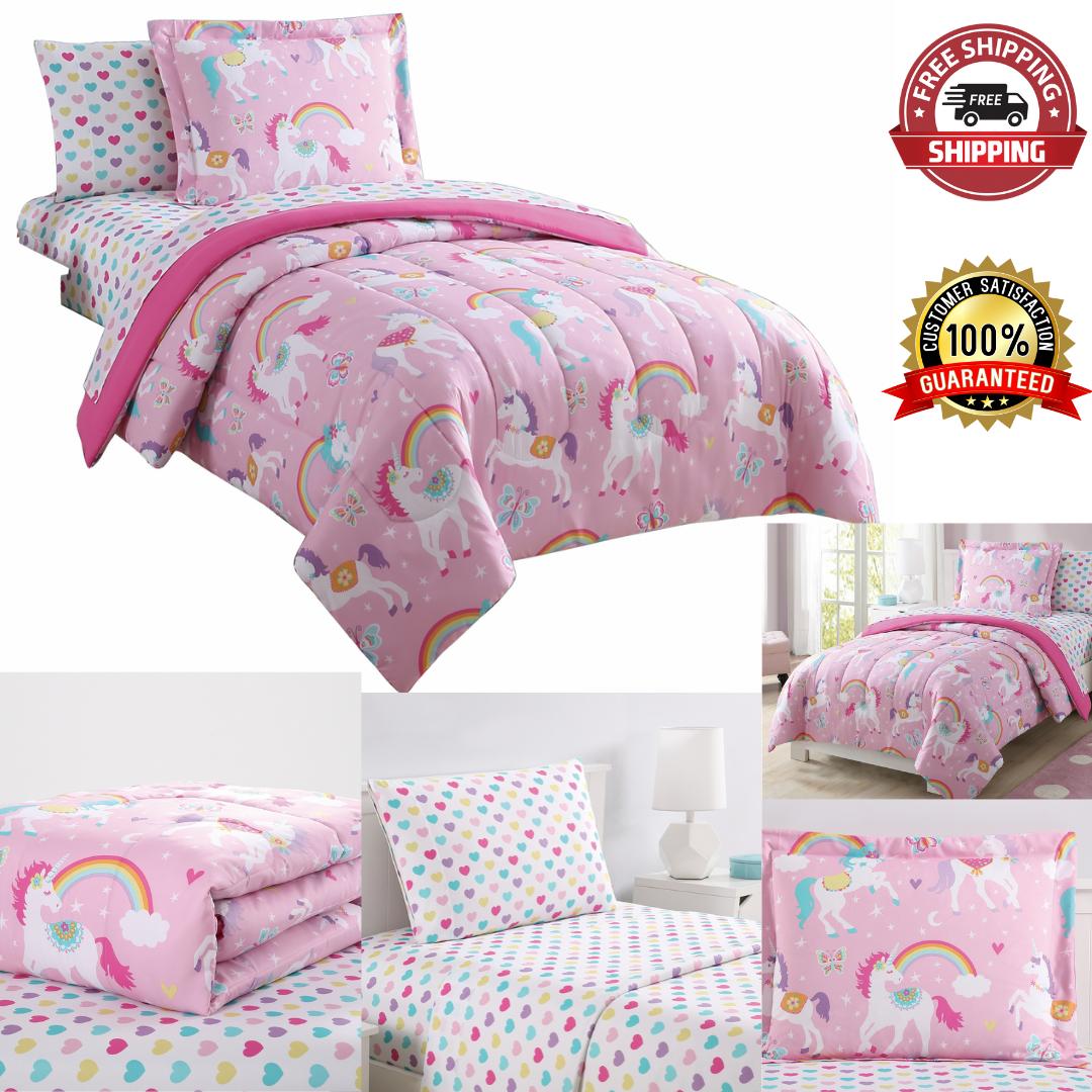 Rainbow Unicorn Bedding Set Kids Full Size Bedroom Microfiber Machine Washable For Sale Online