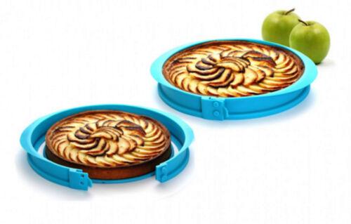 bleu Moule pour tarte à charnière avec marque-parts.