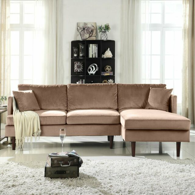 Modern Leather Match Sectional Sofa L