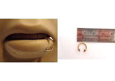 Silver Surgical Steel Spike Bottom Side Lip Ring Half Hoop Circular 16 gauge 16g