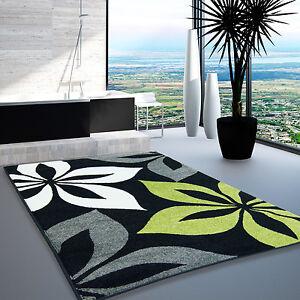 Tappeto Moderno Design Soggiorno Moda Fiore grigio verde crema nero ...
