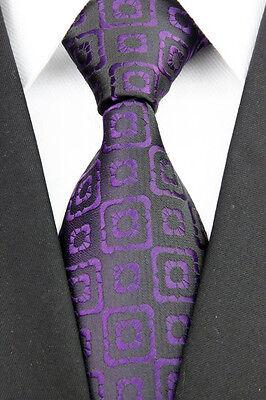 IA0195 Purple Black  Checks Man Classic JACQUARD Woven Necktie Tie Formal