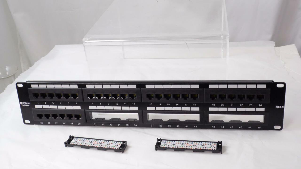Trendnet 48 Port Cat6 Unshielded Wallmount Or Rackmount Patch Panel Mount Cable Networking Wiring Block Jack Rj45 1u Ebay Tc P48c6