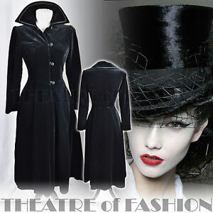 VINTAGE-LAURA-ASHLEY-VELVET-RIDING-COAT-DRESS-VICTORIAN-EDWARDIAN-GOTHIC-40s-50s