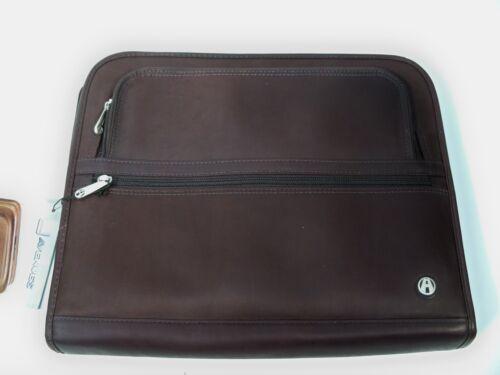 Full Grain Leather Fan File Folio Portfolio Red-Brown or Black-Brown