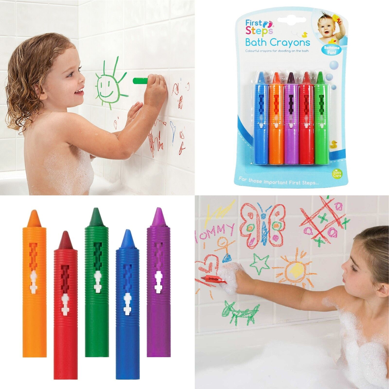 5 Colours Doodle on the Bath! *NEW* Baby Bath Crayons Hours of Bathtime Fun