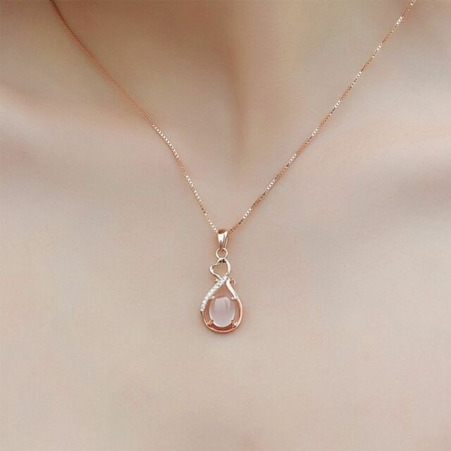 Jewelry Crystal Delicate Charming Pink Opal Necklace