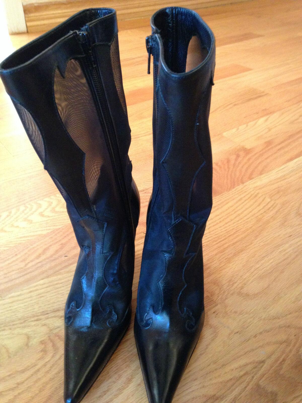 Black High Heel Womens Boots CARLOS MOLINA  size 7 B