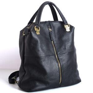 New-Designer-Cowhide-Leather-Backpack-Women-039-s-Black-Leather-Handbags-Travel-Bag
