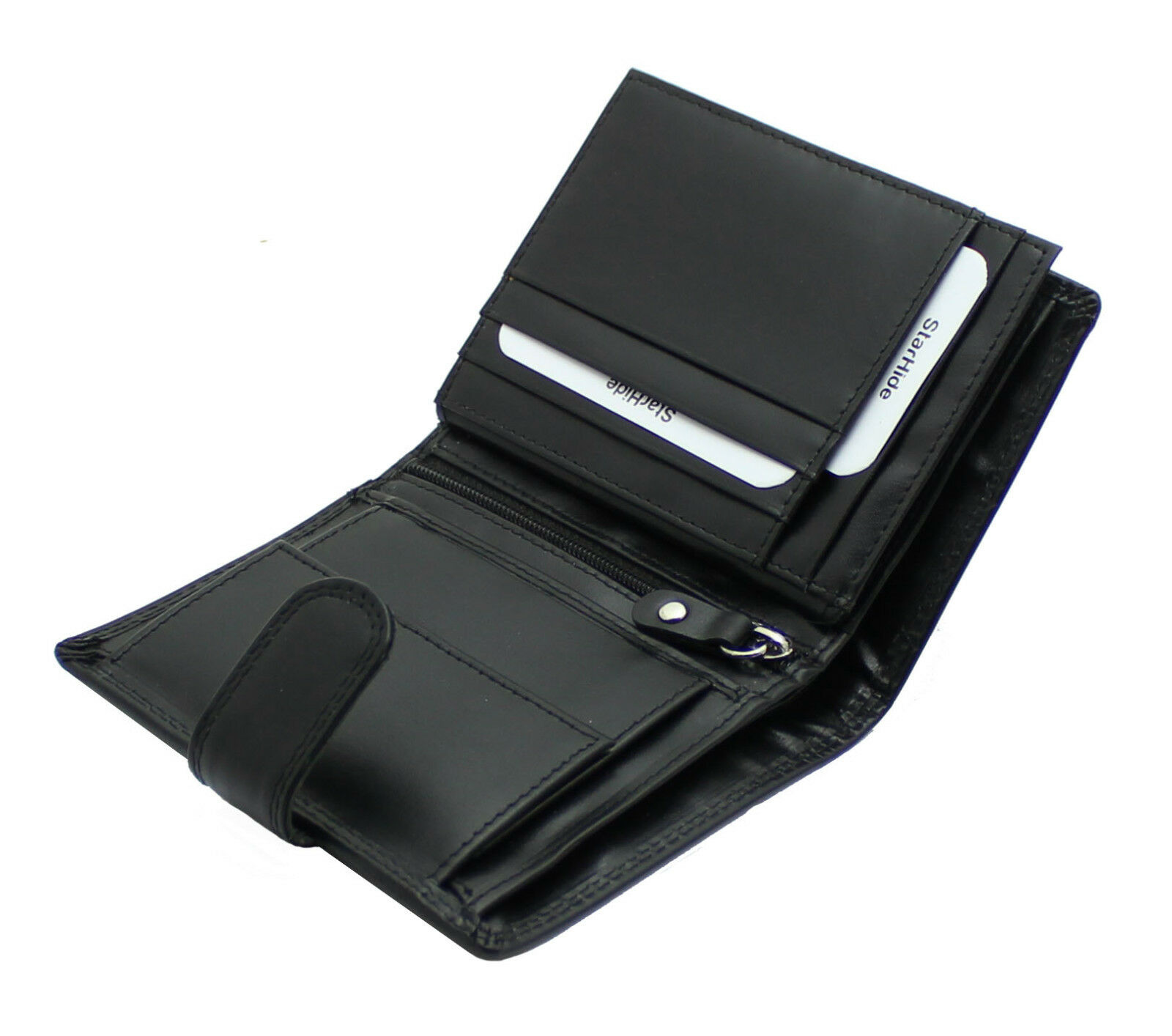 Mens Genuine Soft Black Leather Wallet With Coin Pocket