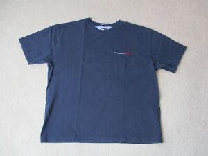 df010f7d3123f1 VINTAGE Tommy Hilfiger Shirt Adult Large Navy Blue Flag Pocket Tee ...