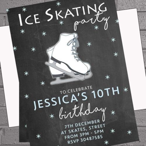 Patin à glace fête d/'anniversaire Invitations Personnalisé Filles X 12 env H2013