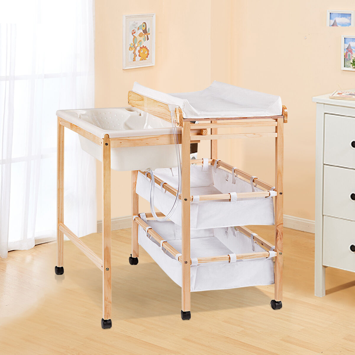 Baby changing station wood changer bath unit nursery wheel for Changing table for bathroom