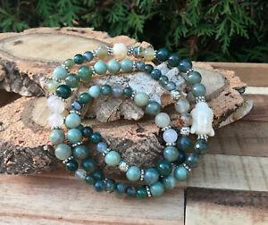 Edelsteine Nett Buddha Lotus Armband Moosachat Jade Achat Silber Mala Armband Angenehm Bis Zum Gaumen